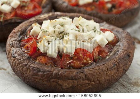 Stuffed portobello mushrooms with feta cheese,tomato and thyme