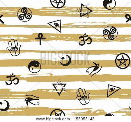 Seamless pattern with ancient sacral symbols on the striped background. Egyptian hermetic religious and magic symbols. Vector background.