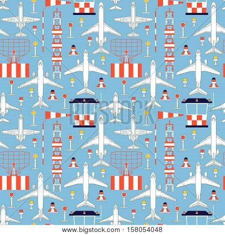 Seamless vector pattern with passenger airplanes and aerodrome facilities can be used for graphic design, textile design or web design.