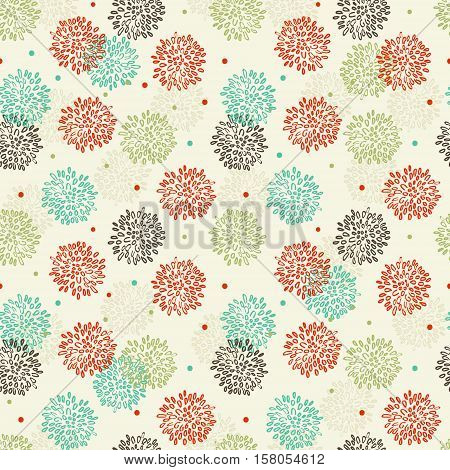 Abstract Floral Orange Green Blue And Brown Pattern