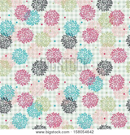 Abstract Floral Square Pink Blue And Black Pattern