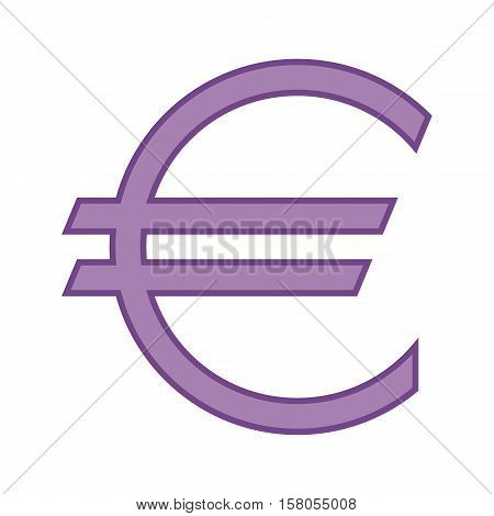 The Euro currency symbol in purple color. Vector illustration. Graphic symbol of the European currency the Euro. Logo.