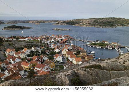 Fjallbacka, Sweden - September 16, 2016: View over the village Fjallbacka, Bohuslan, Sweden seen from the kungsklyftan
