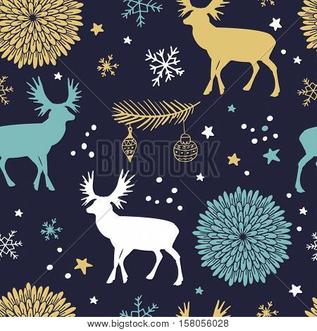 Christmas vector seamless pattern with trees, deers , flowers and snowflakes. Winter background for cards, scrapbooking, paper, kids clothing.