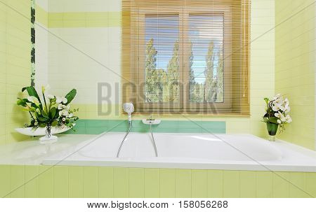 Beautiful white faucet on bathtube near window with flowers decor