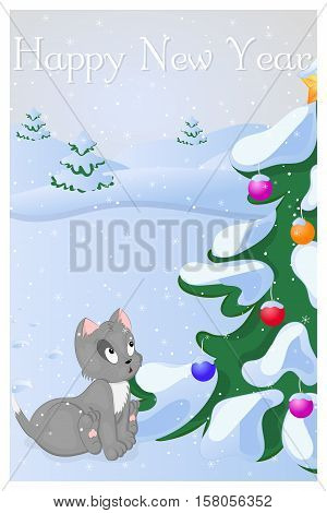 Funny and cute kitten saw Cristmas Tree at the first time. Merry Christmas and Happy New year card. Christmas card in cartoon style. Vector illustration. New Year Collection.