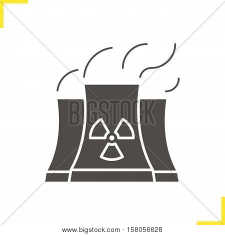 Nuclear power plant with smoke cloud icon. Drop shadow silhouette symbol. Radiation symbol. Negative space. Vector isolated illustration