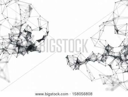 Abstract 3d illustration of Molecular structure on white background. Connected colorfully lines with dots. Concept of the science, connection, chemistry, biology, medicine, technology.