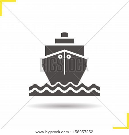 Cruise ship with waves icon. Drop shadow transportation vessel silhouette symbol. Shipping tanker. Coast guard ship. Negative space. Vector isolated illustration