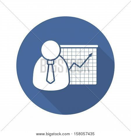 Business presentation with graph flat design long shadow icon. Office worker with growth chart. Vector silhouette symbol