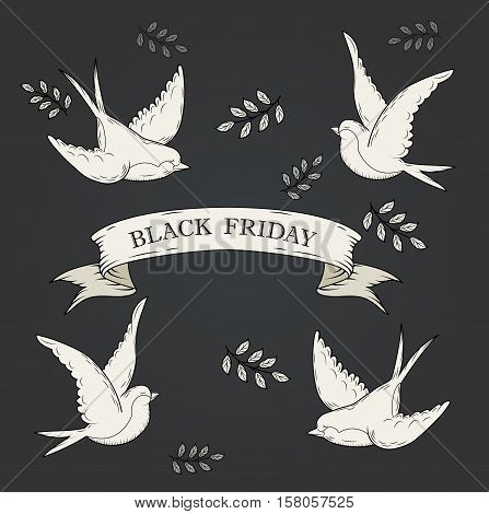 white ribbon and swallows banners set. Beautiful blank for decoration graphic. Old vintage style Flat design. Template collection labels Vector illustration.Black friday