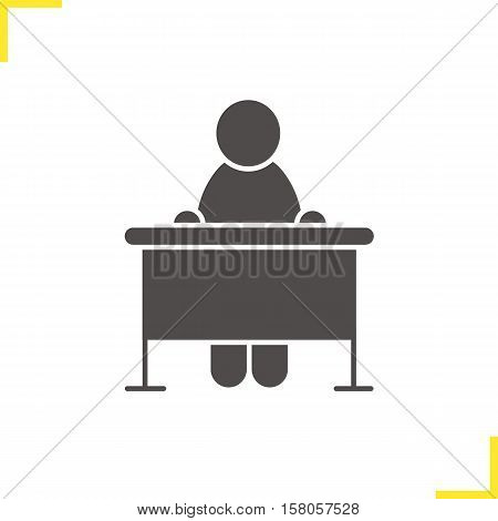 School student icon. Classroom desk silhouette symbol. School pupil. Negative space. Vector isolated illustration