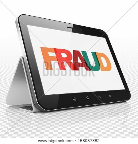 Protection concept: Tablet Computer with Painted multicolor text Fraud on display, 3D rendering