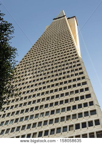 San Francisco Ca USA October 22 2016: Bottom view of the Transamerica Pyramid
