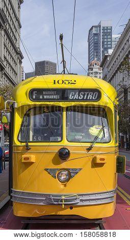 SAn Francisco CA USA october 22 2016; Tram moving in San Francisco