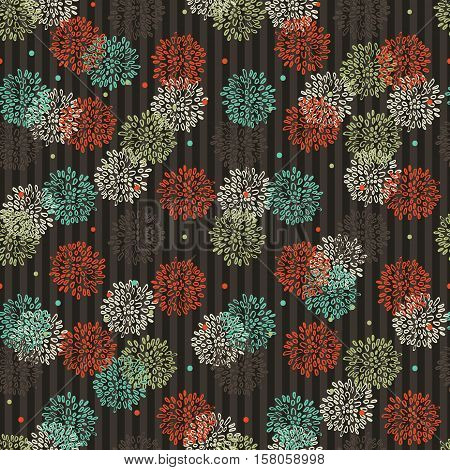 Abstract Striped Floral Orange Green Blue And Brown Pattern