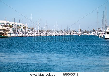 Boats On Water At Marina Del Ray In Southern California