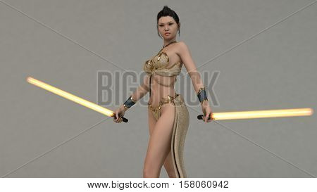 3d illustration Asian warrior girl with light sabers