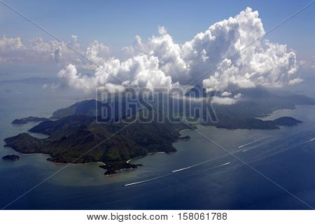 Aerial view of small islands near to island Indonesia
