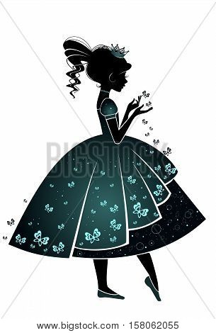 Princess with butterflies isolated on a white background