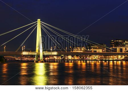 Illuminated cityscape of town Cologne at night
