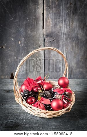 Christmas decorations lay in a wicker basket. Christmas background. Christmas decorations. 2017 year. New Year background. Xmax background.