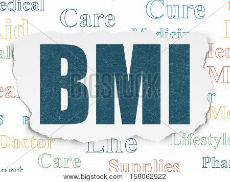 Healthcare concept: Painted blue text BMI on Torn Paper background with  Tag Cloud