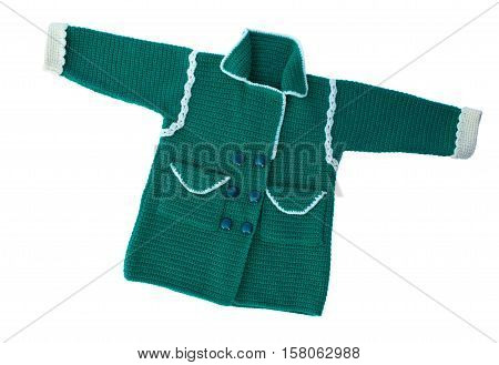 Knitted sweater for the child of handwork. Warm sweater with a pattern. Isolated on white.