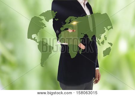 businessman hand pressing a button on a touch screen. businessman touching a world map on the screen showing global connection between different continents