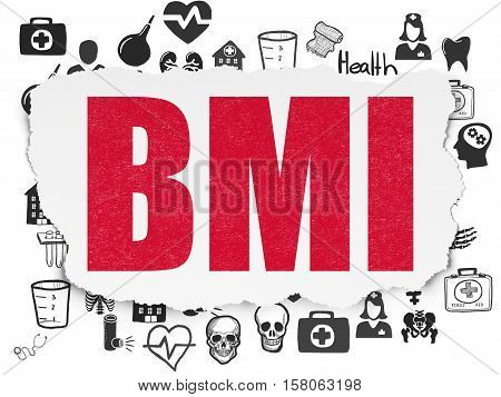 Health concept: Painted red text BMI on Torn Paper background with  Hand Drawn Medicine Icons