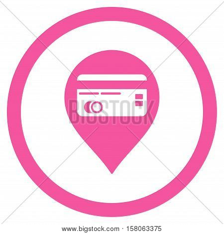 Credit Card Pointer vector rounded icon. Image style is a flat icon symbol inside a circle, pink color, white background.