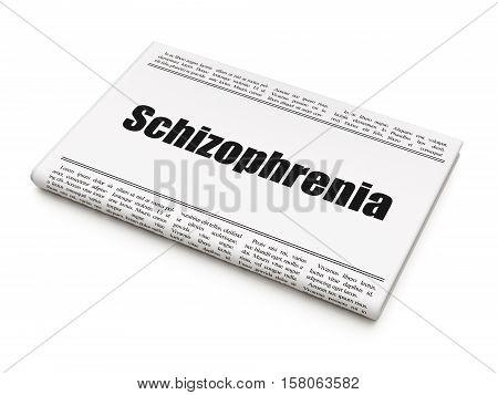 Healthcare concept: newspaper headline Schizophrenia on White background, 3D rendering