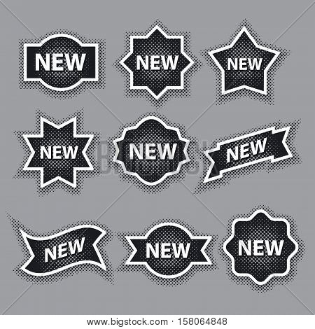 set of black and white halftone advertising stickers