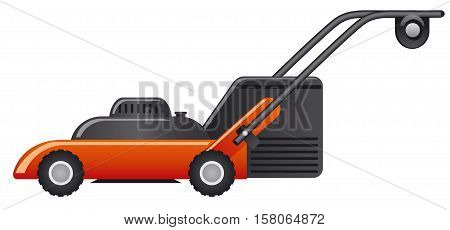illustration of the modern red lawn mower