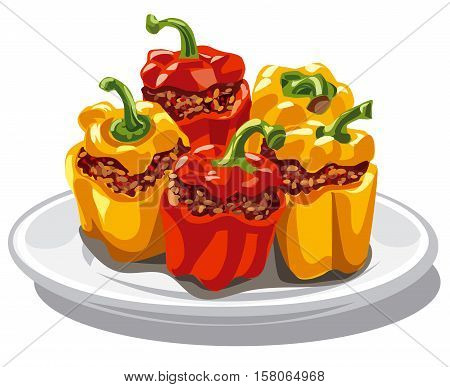 illustration of stuffed minced bell peppers on plate
