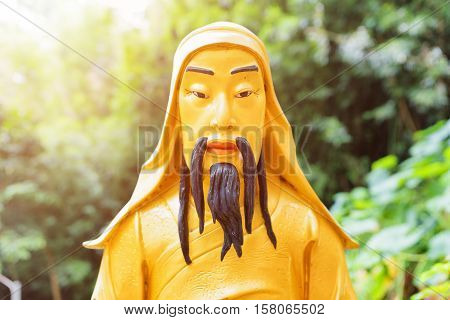 Closeup View Of Golden Buddha Statue On Nature Background In Hong Kong