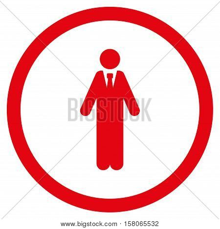 Clerk vector rounded icon. Image style is a flat icon symbol inside a circle, red color, white background.