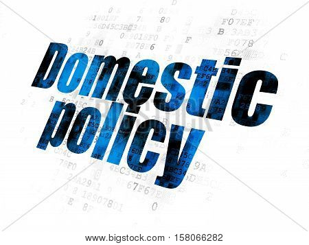 Political concept: Pixelated blue text Domestic Policy on Digital background