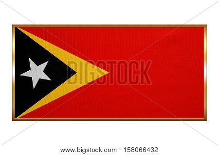 East Timorese national official flag. Patriotic symbol banner element background. Correct colors. Flag of East Timor golden frame fabric texture illustration. Accurate size colors