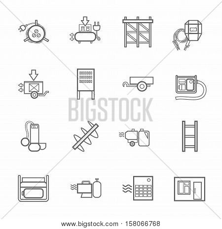 Electric equipment and construction equipment, contour icons, monochrome. Gray, vector linear image electric, gas, and construction equipment on a white background.