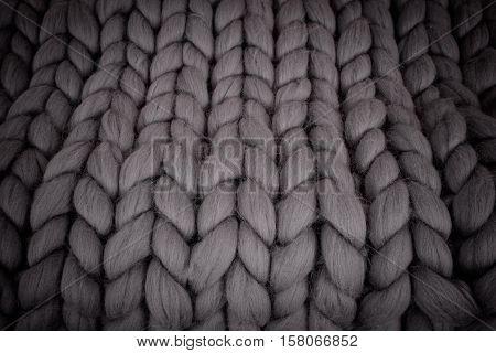Large folded gray knit blanket giant knit blanket super chunky yarn arm knitting