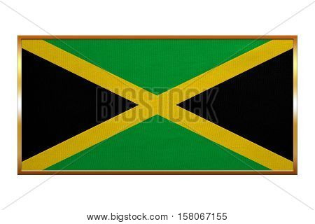 Jamaican national official flag. Patriotic symbol banner element background. Correct colors. Flag of Jamaica golden frame fabric texture illustration. Accurate size colors