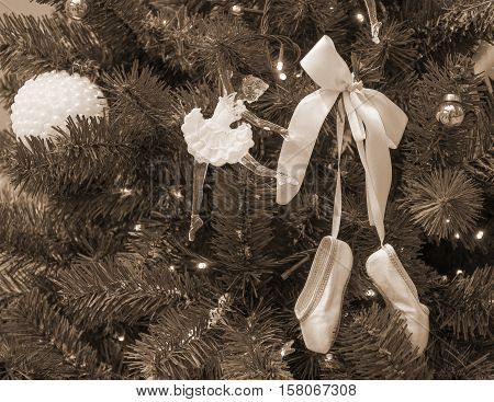 Christmas tree with decorations - with doll-ballerina and ballet slippers (sepia)