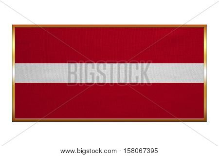 Latvian national official flag. Patriotic symbol banner element background. Correct colors. Flag of Latvia golden frame fabric texture illustration. Accurate size colors