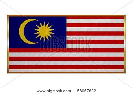 Malaysian national official flag. Patriotic symbol banner element background. Correct colors. Flag of Malaysia golden frame fabric texture illustration. Accurate size colors