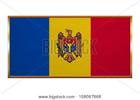 Moldovan national official flag. Patriotic symbol banner element background. Correct colors. Flag of Moldova golden frame fabric texture illustration. Accurate size colors