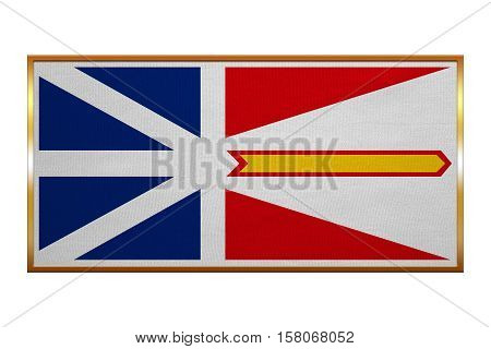 Canadian provincial NL patriotic element and official symbol. Canada banner and background. Flag of the Canadian province of Newfoundland and Labrador golden frame illustration. Accurate size color
