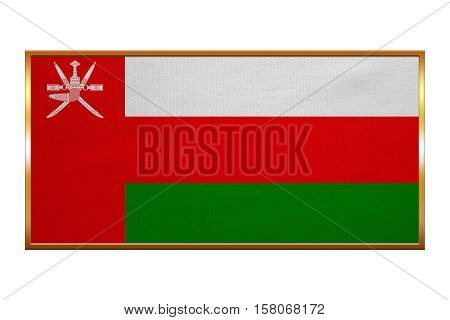 Omani national official flag. Patriotic symbol banner element background. Correct colors. Flag of Oman golden frame fabric texture illustration. Accurate size colors