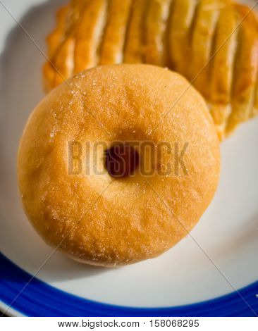 Donut And Bagel For Breakfast Or Snack