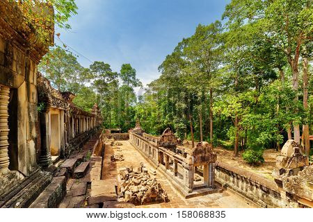 View Of Galleries And Ruins Of Ancient Ta Keo Temple In Angkor